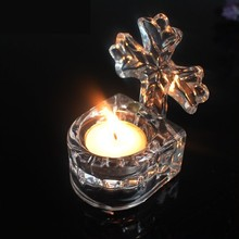 Elegant Cross Crystal Votive Candle Holder, Glass Candle Holder for Religious Gifts