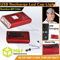 Aluminum Material USB Input 5LED Cap Light With Clip For Fix On Hard Hat