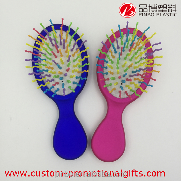 hair brush, nylon broach rainbow hair brush, plastic handle hair straightening brush