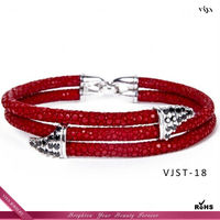 Unisex fashion genuine stingray leather bracelet with TOP AAA high quality, silver cuff bangle leather bracelet WHOLESALE