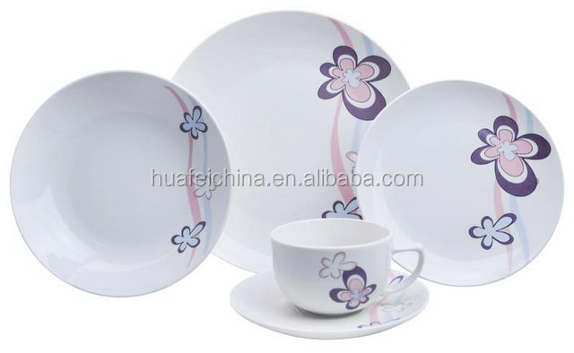 custom made dinnerware sets with coup shape modern japanese ceramics white jade porcelain with decal