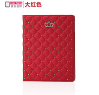 Crown style pu leather with diamond stand flip leahter case cover for ipad 2/3/4/5/6 ,For ipad mini 1/2/3/4