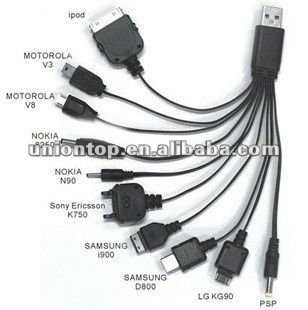 wholesale 10 in 1 multifuntion USB cables for mobine