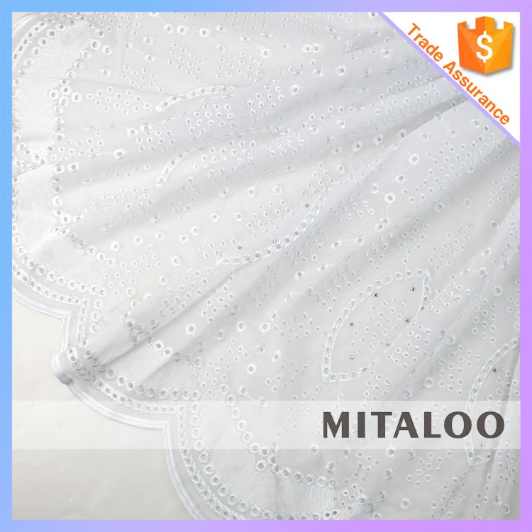 Mitaloo MSL0390 White Swiss Cotton Voile Lace White Polish Lace Dry Lace With Stones
