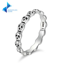 925 Sterling Silver Ring Skeleton Face Skull Finger Rings for Women Jewelry Gift