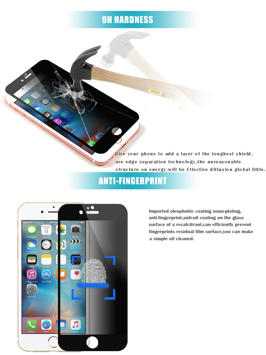 Brand Vmax Explosion Proof Anti-Peek Dark 2 Way 180 Degree 9H Premium tempered glass privacy screen protector for iPhone 6s Plus