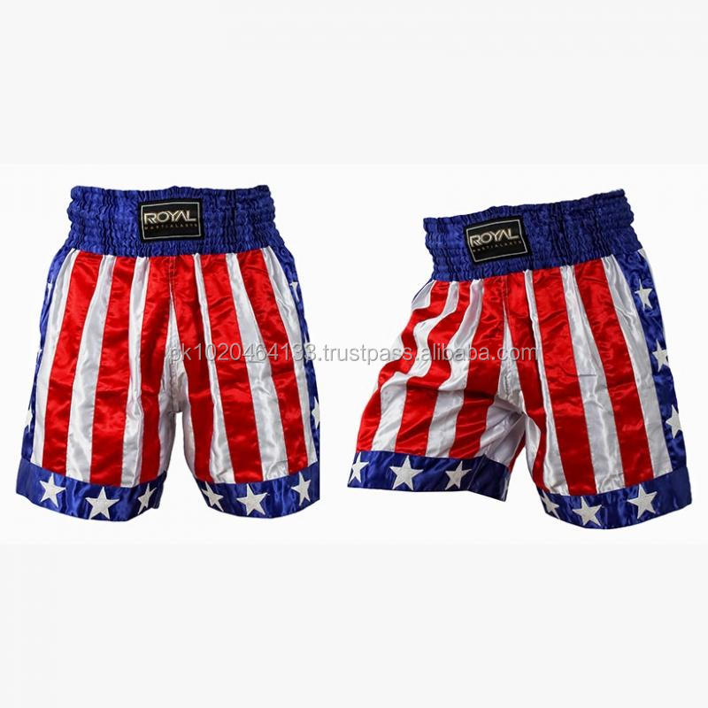 USA Flag Satin Boxing Shorts / Boxing Trunk High Quality Custom Made
