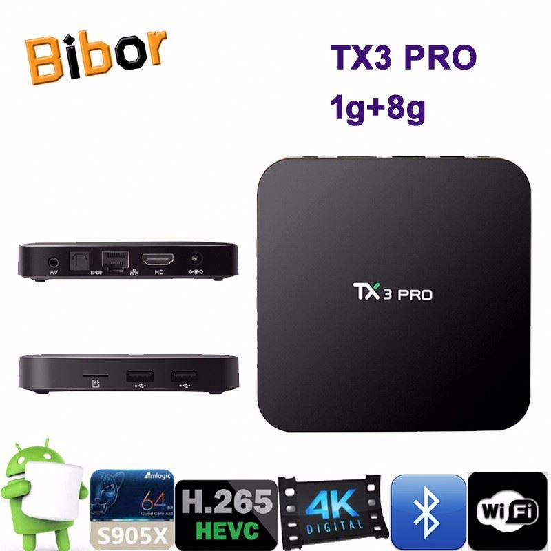 2017 android tv box TX3 Pro S905X Android 6.0 quad Core ko-di full loaded set top box