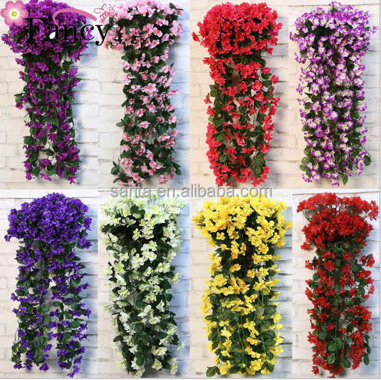 Artificial wall hanging violet wall balcony hanging spider decoration fake flower silk flower hydrangea large cherry wall
