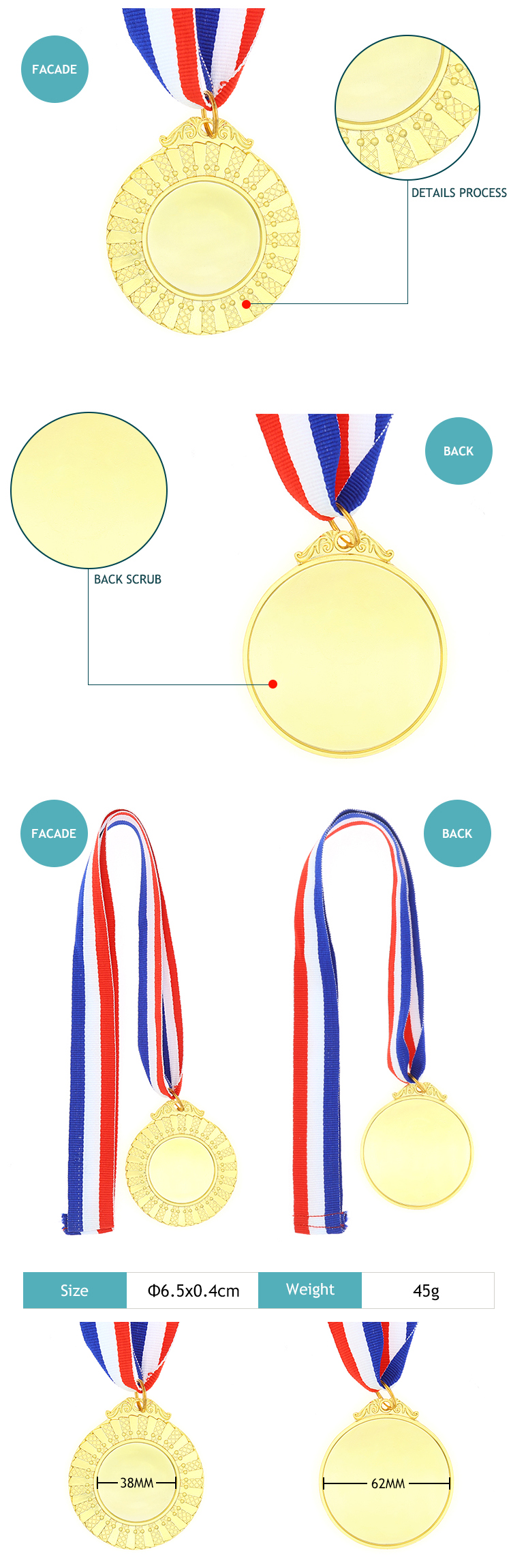 Promotion metal gold blank medals with lanyard