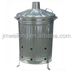 75L 90L 100L galvanized steel garden incinerator for sale