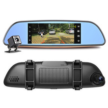 Android system wifi gps mirror dual lens car dvr with Lcd Monitor Bluetooth 3G Car Camera