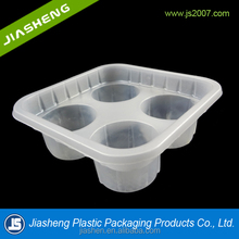 Square semi-clear disposable plastic tray for biscuit /cake /dessert with 4 round compartments