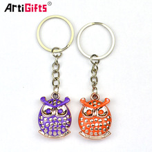 Wholesale Blank Metal Personalized Brass Custom 3D Logo Hard Enamel Owl Animal Keychain
