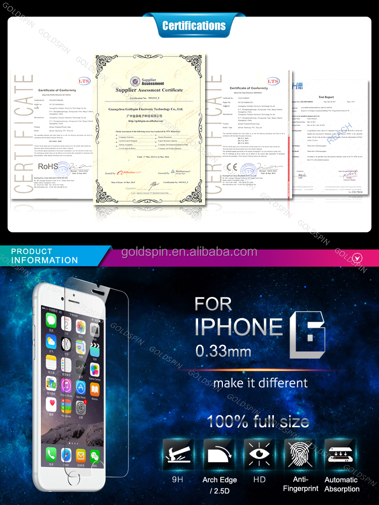 Factory 9H Hardness Anti Scratch Tempered Glass Screen Protector for iPhone 6