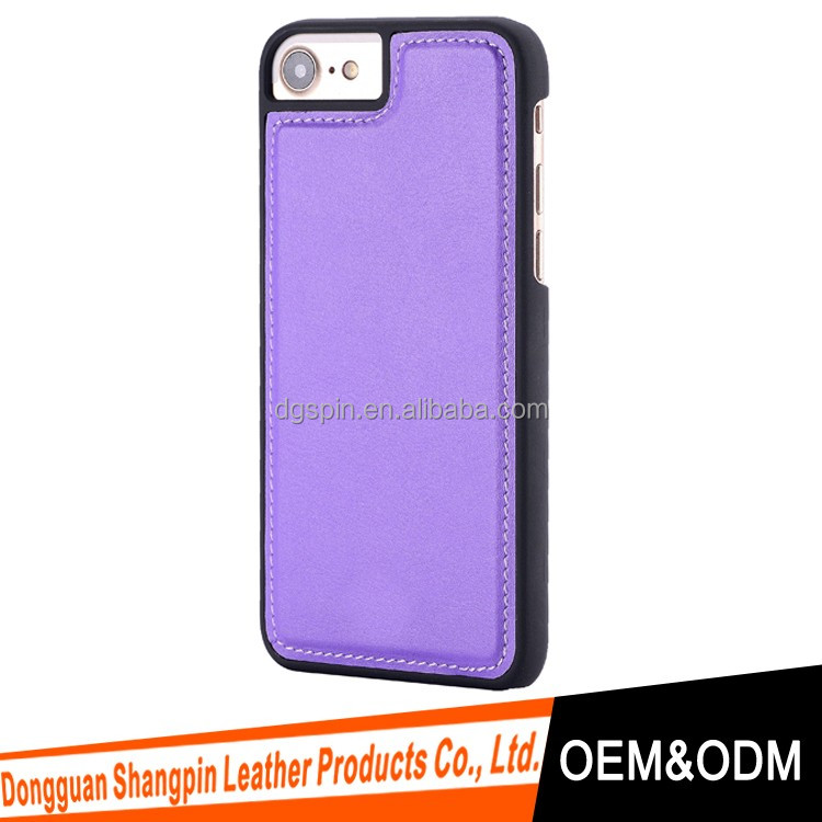 rubber coating matte hard case for iphone 7 with leather, case for iphone 7 plus