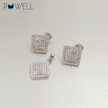 Trendy Fashion Bridal Micro Pave Square Design 925 Sterling Silver Jewelry Sets