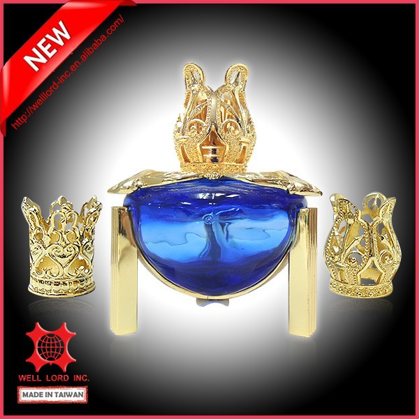 Luxury mysterious egyptian crown style glass empty oil burner bottle