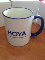 White Ceramic Mug with blue handle/ Gift/ Malaysia