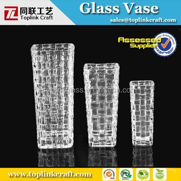 2014 square clear glass vase lead crystal vase