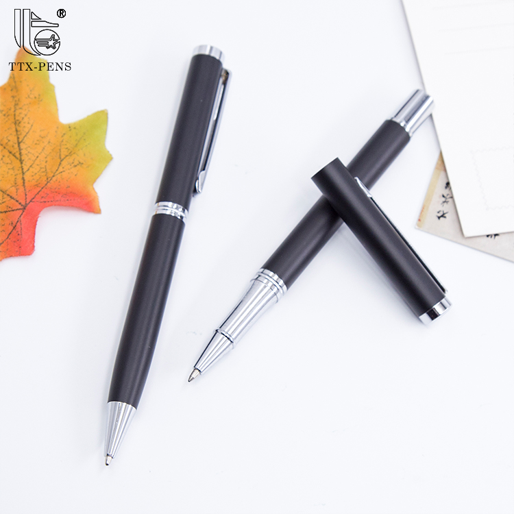 2018 High quality customized logo gift classical black metal free ink roller pen