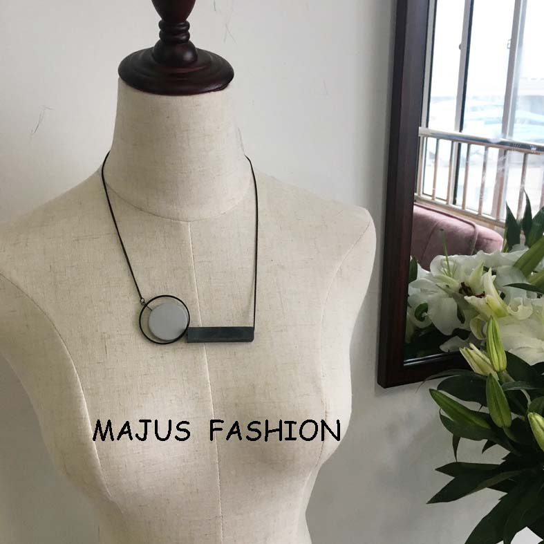 thin black chain rectangle wood white plastic shell pendant necklace