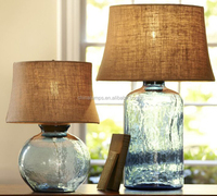 Different size sky blue glass led table light with light brown fabric lampshade for bookstore/coffee shop decoration