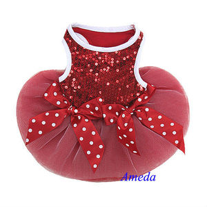 Xmas Red White Polka Dots Bling Crystal Bow Tutu Dog Clothes Party Dress XS-L