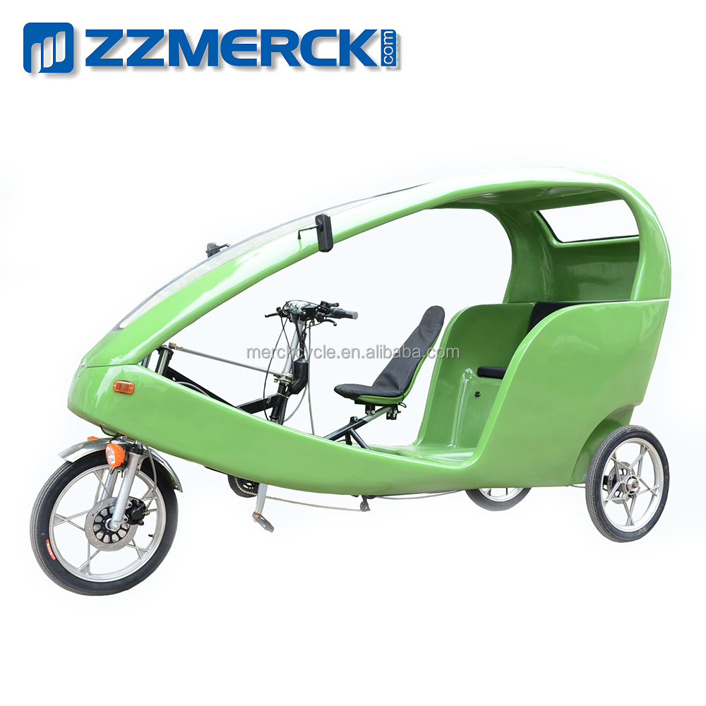 1000W Green Power 2 Passengers Three Wheel Electric Bike Rickshaw