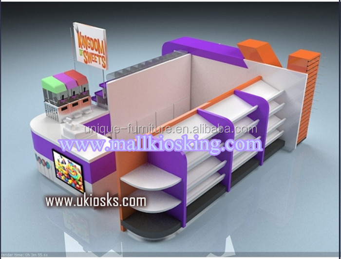 Unique design cotton candy kiosk stand and display counters for sale