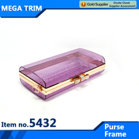 No.5432 violet transparent purse with light gold purse frame attractive lady purse frame