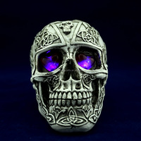 Wholesale halloween led polyresin skull head with red /blue light eyes G025/resin deer head