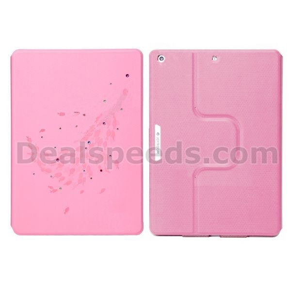 Joyroom 360 Degree Rotating Stand Smart Wake Sleep Foldable Crystal Rhinestone Leather Cases for iPad 2/3/4