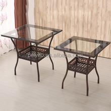 China iron leg square rattan table with glass top