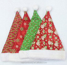 Fashion Handmade Promotional Colorful Nice Design Velvet Santa Claus Christmas Hat with Snowman And Snowflowers Design