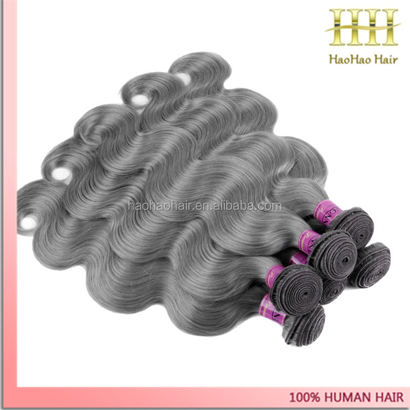 indonesian products 20 inch body wave grey remy human hair weave