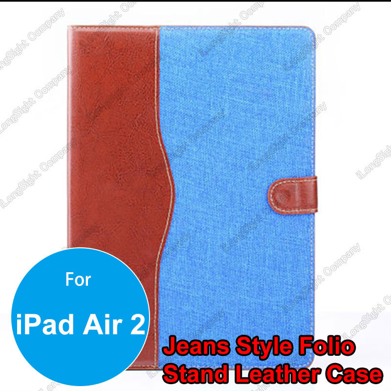 Fashion Jeans Cloth Leather Felt Fabric Case ID Card Slot Pouch Stand Smart Cover for iPad Air 2