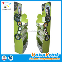 Make up floor corrugated paper display mac cosmetic / mac cosmetic display stand