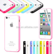 For IPHONE 5 5G Snap-On Case Colored Bumper Clear Transparent Back Hard Cover