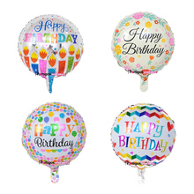 [partigos] 2017 new design happy birthday theme 18 inch round shape foil balloon helium balloon for birthday party