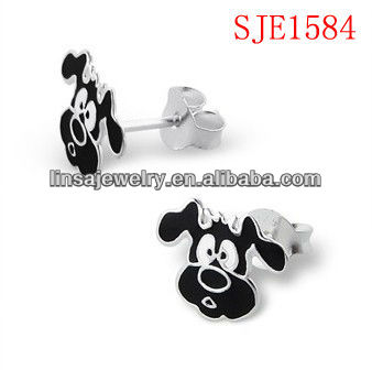 Dog Design Stainless Steel Stud Earrings