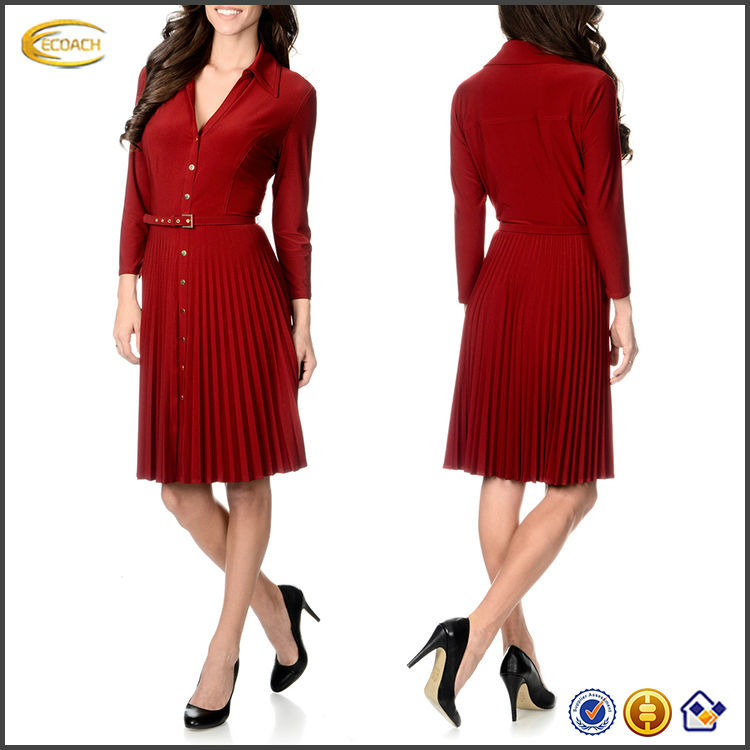 OEM wholesale Women 3/4-length sleeves Shirt collar v-neck Pull-over Pleated Shirt ladies formal wear dresses office dress