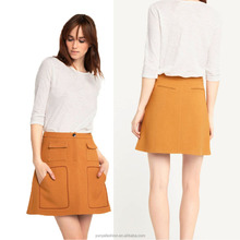 Lasted Short Skirt Designs Pictures Of A-line Ladies Skirt With Khaki Pockets