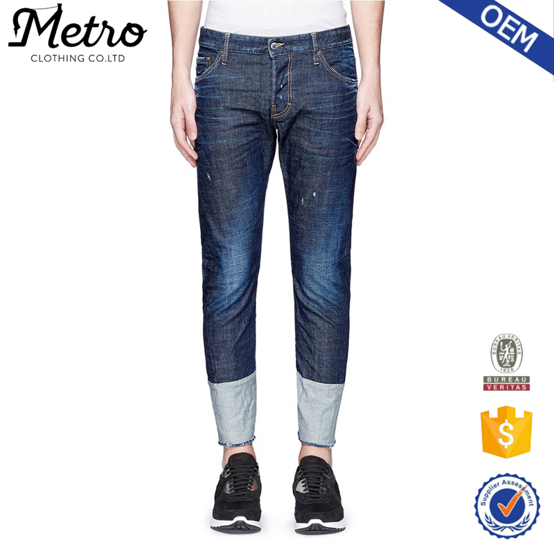 New model color combination washed denim fabric funky men jeans