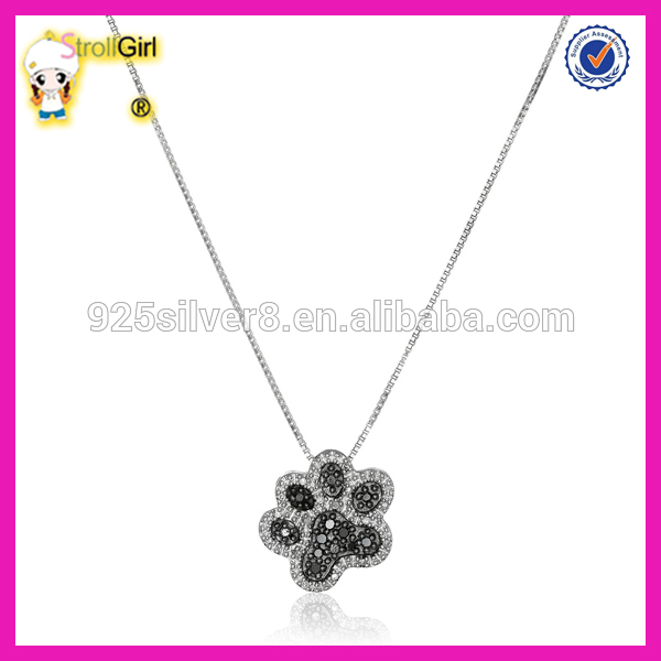 sterling silver black and white diamond dog paw pendant necklace