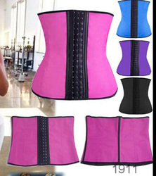 onen Hot sell onenwebBlue rubber three big hook latex waist cincher fat woman sexy corset