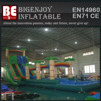 Jungle theme adult giant inflatable jungle slip n slide with detachable water pool