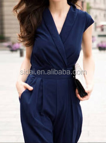 Elegant new design short sleeves fashionable one piece long pants office ladies jumpsuit