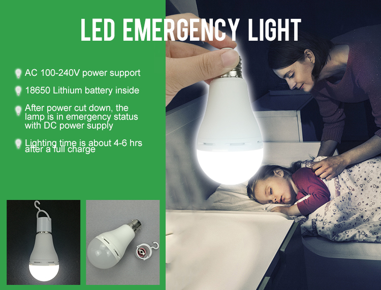 9W emergency led bulb light with built-in battery emergency lamp led