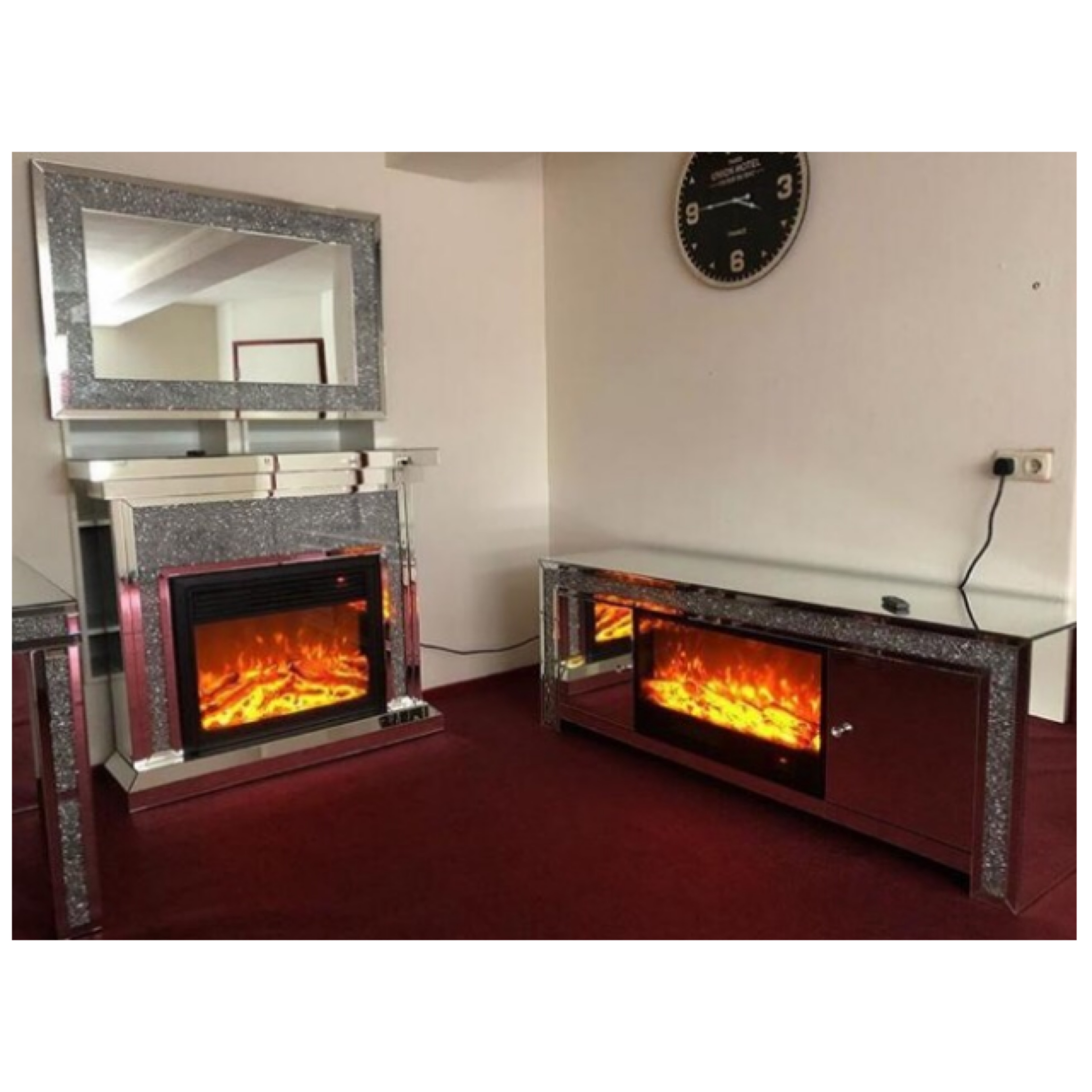 crushed diamond mirrored tv unit tv stand with fireplace